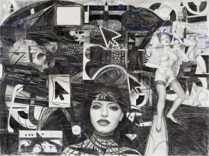 Paul Brainard Drawings pen pencil and collaged drawing on paper