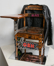 Paul Brainard Paintings oak school desk , painted leather jacket , leather belt, oil and acrylic, pencil and pen
