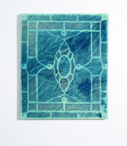Paul Keefe Work Cyanotype on Dyed Canvas