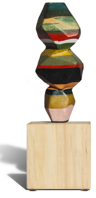 Paul Kline  Encaustic Sculpture Encaustic on wooden pedestal