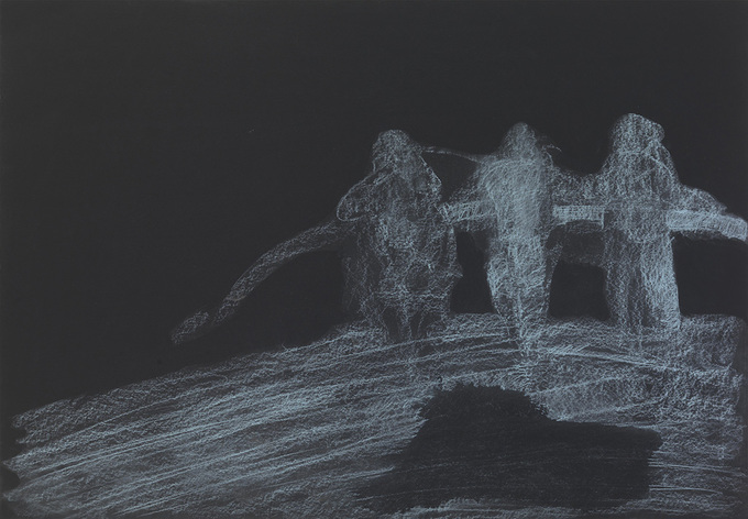 An image, an Eidólon soft chalks on black paper