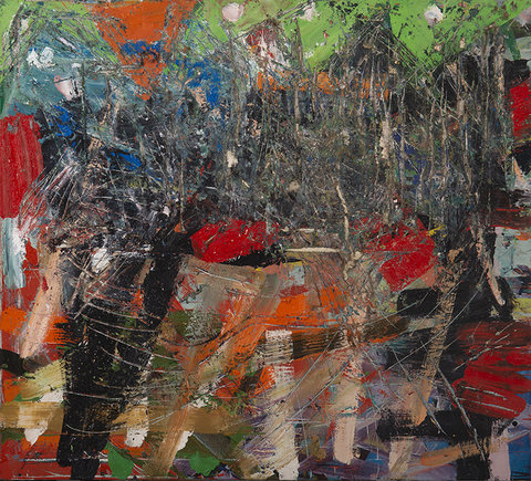 Peter Bonner Really Recent large Oil and collage on canvas