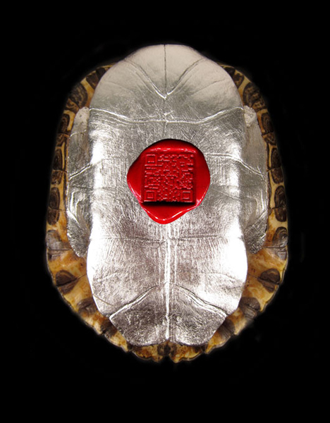All is Always Now Found turtle shell, silver leafing, wax seal with QR code
