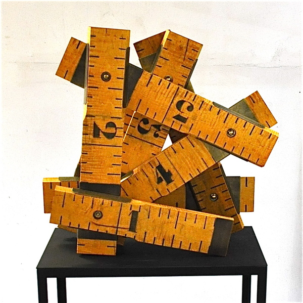 Peter Kirkiles  Sculpture  Figured Maple, bronze, pigment, ink, bronze base