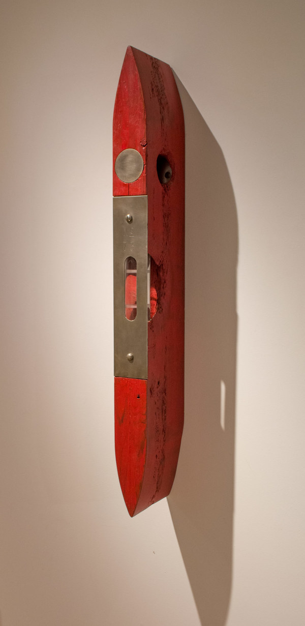 Peter Kirkiles  Sculpture  Cedar, glass, stainless steel. p[gment, wax