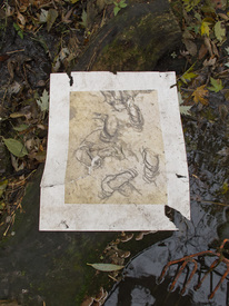 Peter L. Johnson Deep Waters I saw da Vinci. In a piece of Styrofoam no less. Specifically, his notebooks. The print is turning into a shroud.