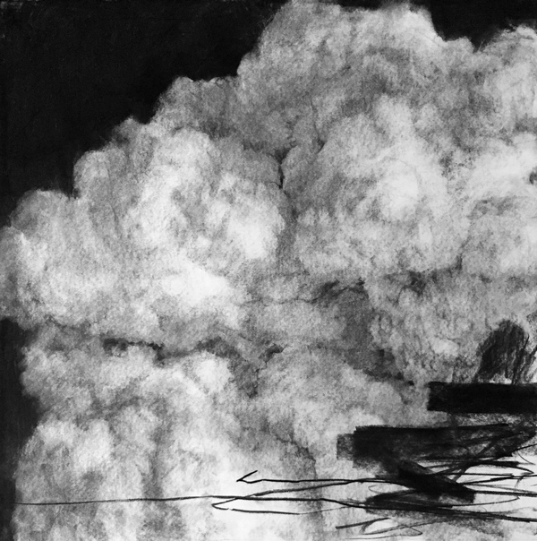 PETER ROUX Suspension/Down By The River charcoal on paper