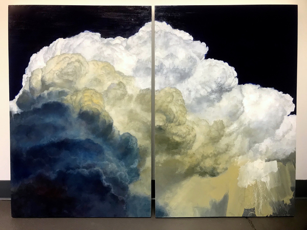 Peter Roux The Suspension Series oil on two panels (diptych)