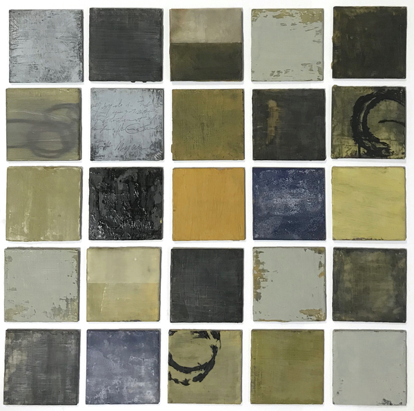 Peter Roux misc abstraction oil, encaustic, tissue, collage on 25 tile panels