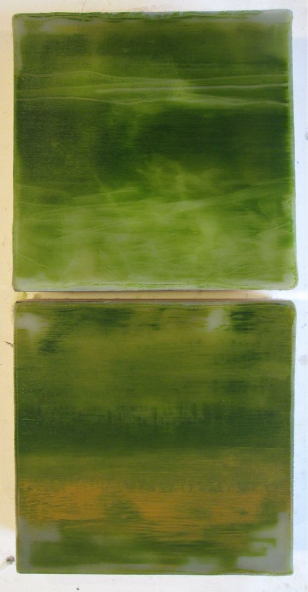Peter Roux misc abstraction oil, encaustic on two panels