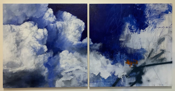 PETER ROUX Equities oil, charcoal, pastel, spray paint on canvas (diptych)