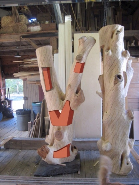 Drawing ideas for sculpture Sketches on Large Timbers