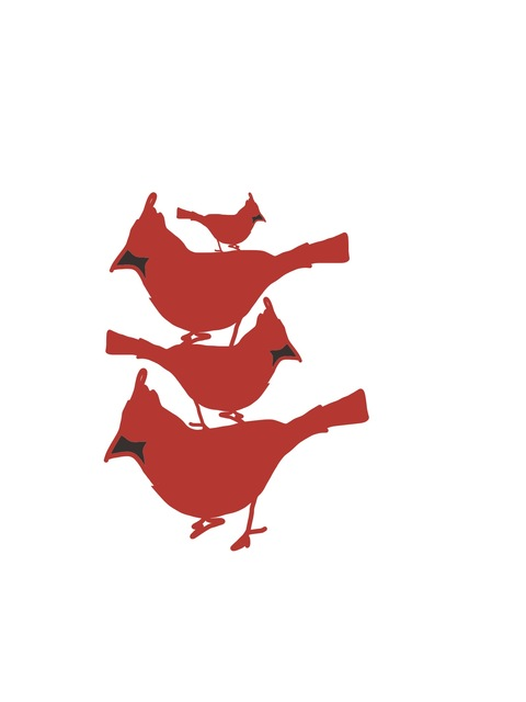 Drawing ideas for sculpture Stacked Red Birds