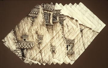 Philip Sugden, Artist Large Scale Studio Ink Drawings Sepia Ink and Gouache on handmade Himalayan Daphne Paper