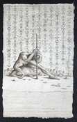 Philip Sugden, Artist Pages From The Manual On Dismantling God Sepia Ink on handmade Himalayan Daphne paper