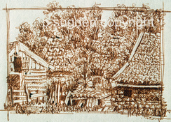 Philip Sugden, Artist Travel Journal Sketches Sepia Ink on Paper. Drawn on location