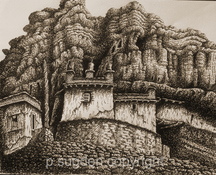 Philip Sugden, Artist Location Drawings Sepia Ink on Paper