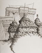 Philip Sugden, Artist Location Drawings Sepia Ink on Paper. Drawn on location