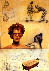 Phil Whitman Older Drawings and Paintings oil and graphite on wood