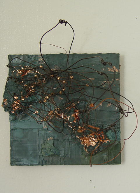 TRACEY PHYSIOC BROCKETT Boreal, Liminal, Temporal, Mercurial oil, copper tape, wire, beads on panel