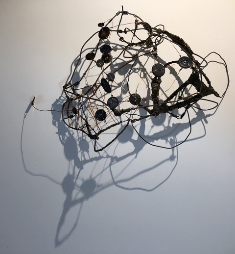 TRACEY PHYSIOC BROCKETT Liminal, Temporal, Mercurial wire, buttons, beads, plaster, acrylic