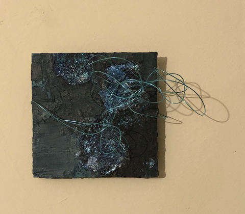 TRACEY PHYSIOC BROCKETT Liminal, Temporal, Mercurial oil, foil, glitter, wire
