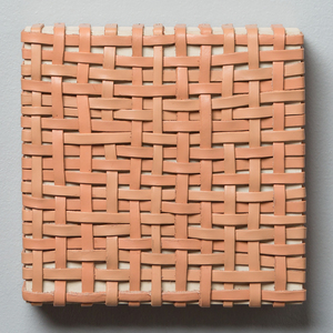 Pilar Agüero-Esparza Painting/Weaving Leather, acrylic, wood panel, nails