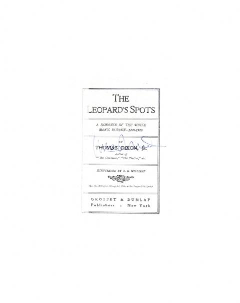 Lucas Michael Mein Buch The Leopard's Spots, 1902