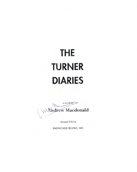 Lucas Michael Mein Buch The Turner Diaries, 1996