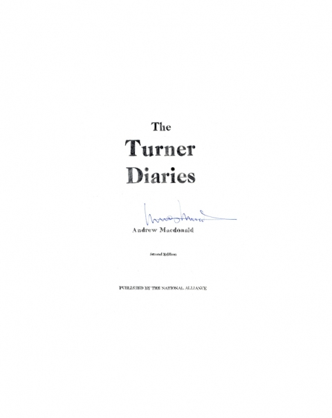 Lucas Michael Mein Buch The Turner Diaries, 1980