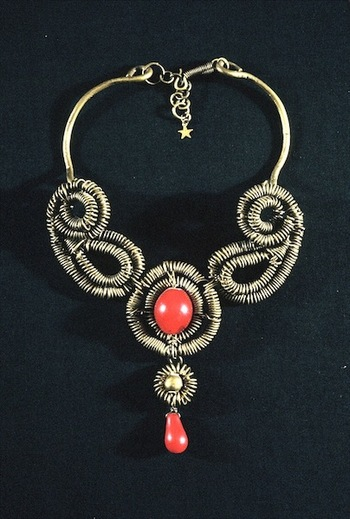 Jewelry as Sculpture Brass and African glass beads