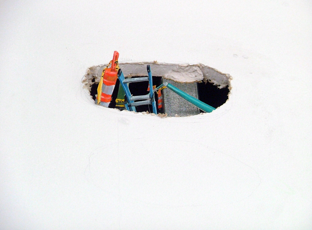 RACHEL GROBSTEIN early work gouache on cut paper [installed in hole in wall]