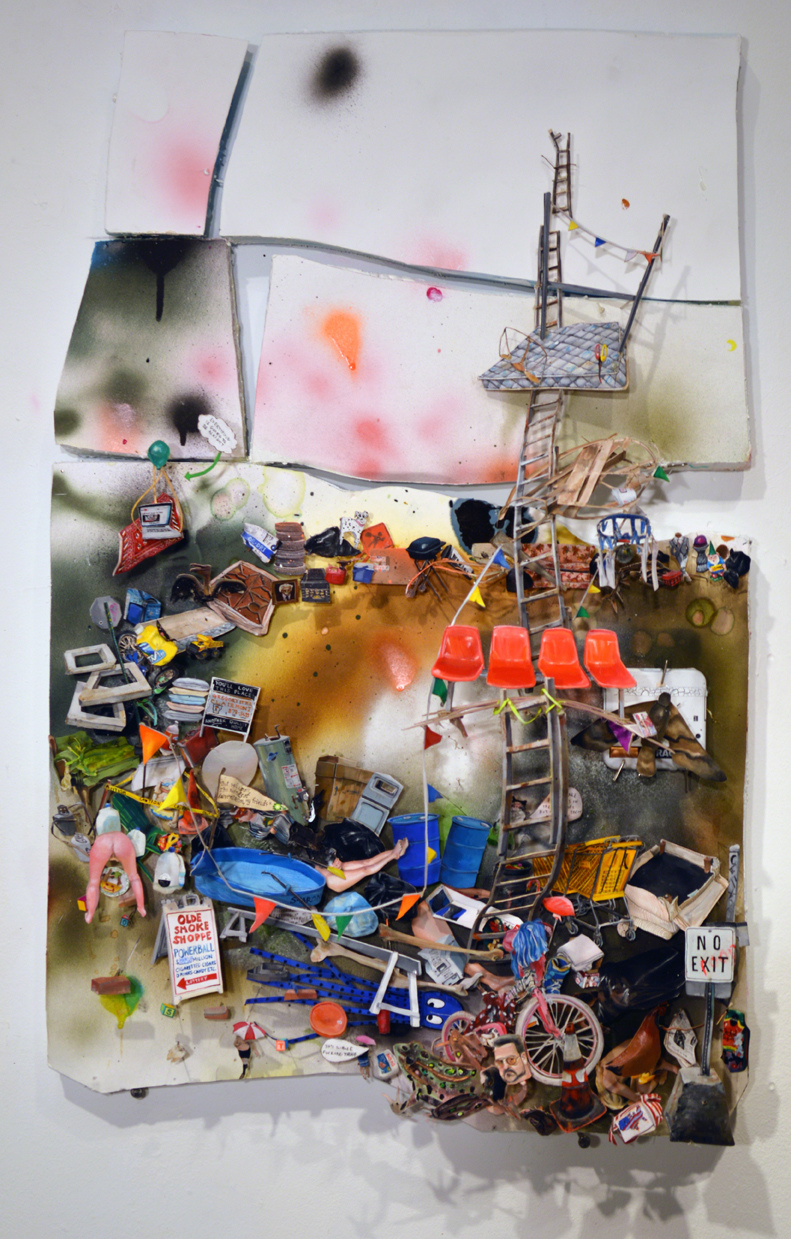 RACHEL GROBSTEIN early work / paintings gouache on cut paper, foam, mixed media, clock, battery