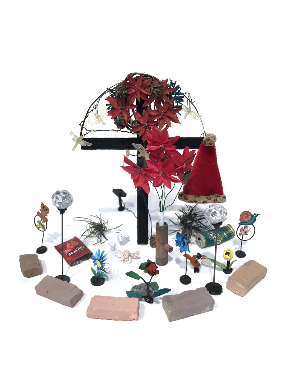 RACHEL GROBSTEIN roadside memorials gouache, paper, clay, balsa wood, wire, fabric, plastic, brass