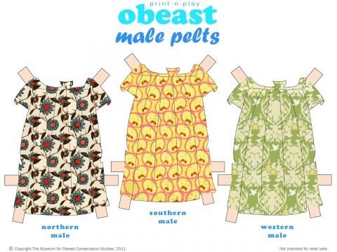 Obeast Paper Dolls, Male Pelts