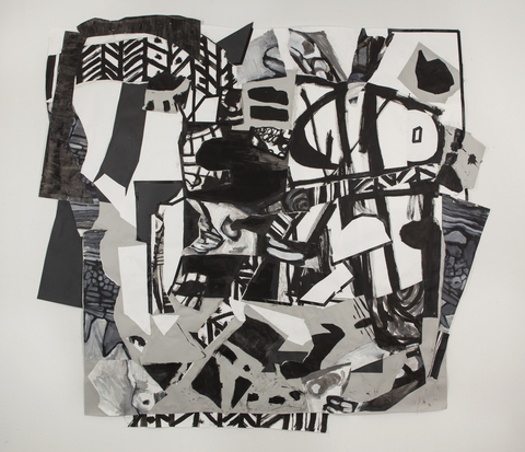 Rachel Sevanich Large Wall Collages  paper collage, acrylic, ink, tape