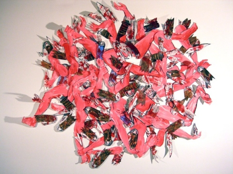 sculpture screenprint, acrylic, grommets, map tacks
