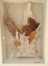 Randy Brozen      Artist and Educator Promises Bark, thread, leaves, twigs