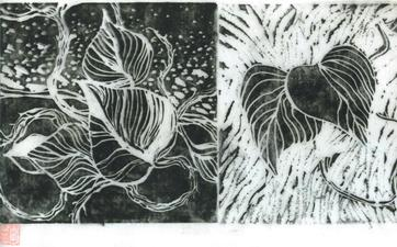 Randy Brozen      Artist and Educator Etchings and Linos linocut on rice paper