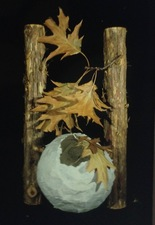 Randy Brozen      Artist and Educator Bryophyta artist-made abaca pape, leaves, big twigs