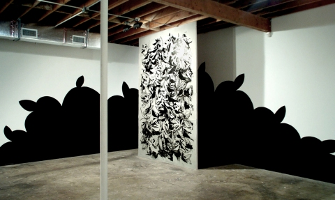 Raymond Saá 2004 El Dulcerito Llego, Locust Projects, Miami, FL ink and acrylic on wood panel