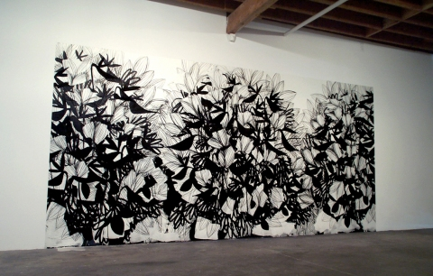 Raymond Saá 2004 El Dulcerito Llego, Locust Projects, Miami, FL ink and charcoal on wall