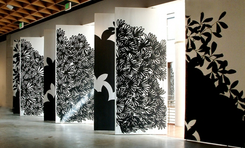 Raymond Saá 2006 The S-Files, Museum of Art, San Juan, Puerto Rico ink on panels (two sides)
