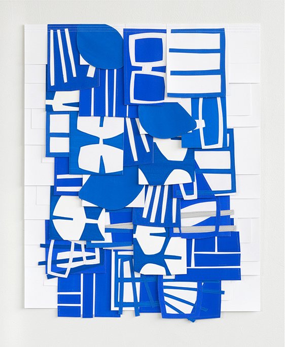 Raymond Saá 2017 Paper Colleges Gouache collage on sewn paper