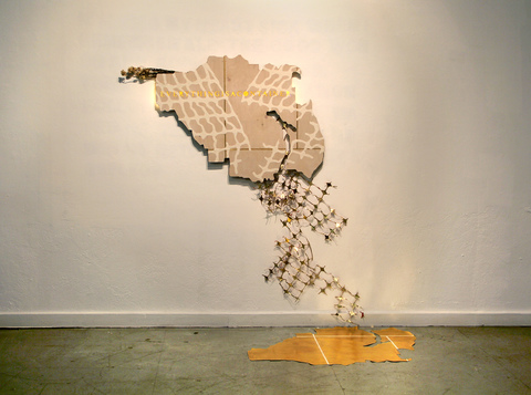 Renee Couture I Am a Country Made of Changing Places plywood, stain, flocking, gold leaf, old map, lights, plastic fence, dried wildflowers