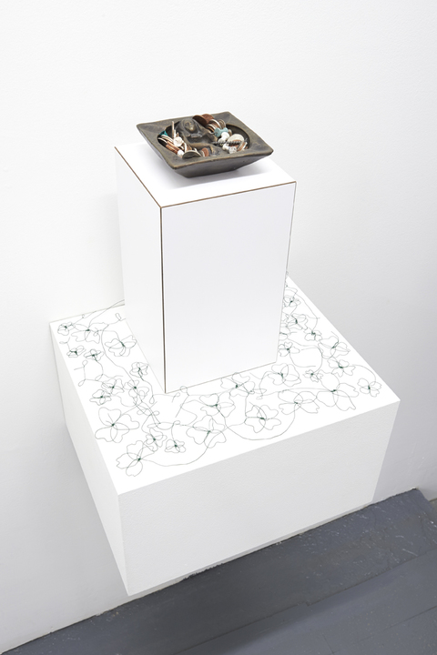 REBECCA GILBERT underdonk 2017 bronze, ash, loose change, pins, nails, clips, laminate block, floral wire