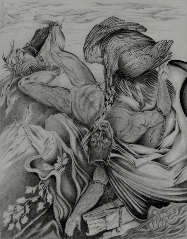 Rebecca Willhoft Old Masters and Superheroes Pencil,Charcoal