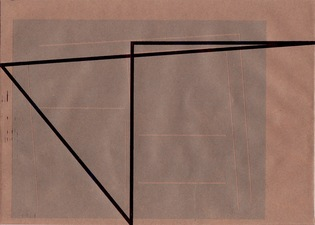 RICHARD CALDICOTT Envelope Drawings 2014 Ballpoint pen and inkjet on paper envelope