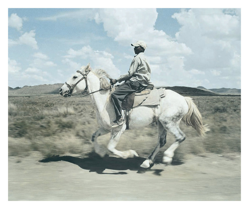 RICHARD MARK DOBSON farm hand and horse. colesburg. karoo. south africa