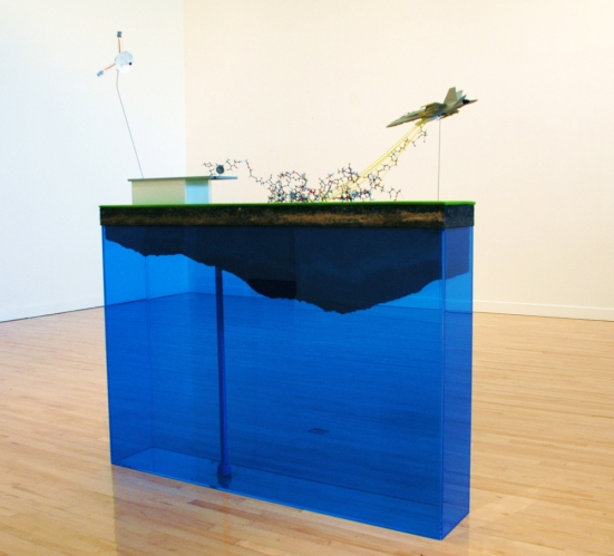 rick newton  sculpture plexiglas, soil and objects